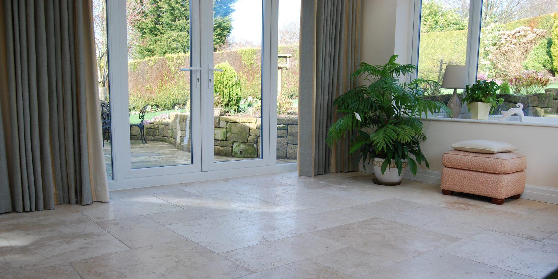 Groundwork Stone Classic Tumbled Travertine Grand Opus Lounge Floor